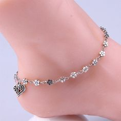 Cool Hollow Out Heart Plum Flower Bracelet Cheville Silver Bead Chain Anklet Bracelet Ankle Barefoot Sandal Beach Foot Jewelry Silver Anklets, Silver Bracelets, Jewelry Bracelets, Silver Ring, Women's Anklets, Jewelry Watches, Silver Jewelry, Chain Jewelry, Jewellery