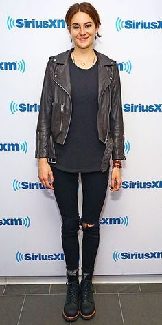 Last Night's Look: Love It or Leave It? | SHAILENE WOODLEY | in an all black ensemble (including a Raquel Allegra tank) made extra cool with an AllSaints moto jacket, The Frye Company boots and Lulu Dharma beads at the SiriusXM Studios in N.Y.C.