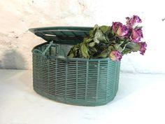 Plastic fishing basket knitting basket by frenchvintagedream