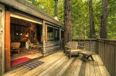Great cabin and porch! Redwood Cabin, Sonoma County, California photo via marisa Living Haus, Sea Ranch, Cabins And Cottages, Cabins In The Woods, Interior Exterior, Little Houses, Tiny Houses, Plein Air, Log Homes