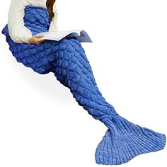 """Product review for Handmade Knitted Mermaid Tail Blanket Crochet ,T-tviva All Seasons Warm Bed Blanket Sofa Quilt Living Room Sleeping Bag for Kids and Adults (72.8""""x35.5"""", Blue1).  - Are you looking for a gift for your lovely girls and boys? Are you looking for a gift for your love? Are you looking for a gift for your kindly parents? Are you looking for a gift for your dearest friends? Are you looking for a warm gift for yourself? This Mermaid blanket will be your best..."""