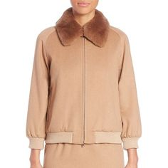 Max Mara Bergen Fur-Trim Bomber ($1,875) ❤ liked on Polyvore featuring outerwear, jackets, apparel & accessories and camel