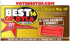 Only a few days left to vote for your favorite DTLA business. Take a minute to support your favorite bar, real estate agent, dentist, bookstore, or activity! Click the link in our bio to vote or go to www.votebestof.com. Voting ends on May 31st so cast your ballot now!  #DTNews #DowntownNews #LADowntownNews #LA #LosAngeles #DTLA #DowntownLosAngeles #DowntownLA #votebestof #vote #contest