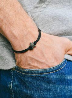 Men's bracelet silver starfish black cords bracelet for