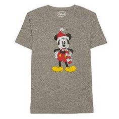 Disney® Men's Mickey Mouse Santa T-Shirt Charcoal S : Target