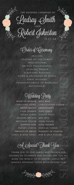 chalkboard vintage roses wedding program