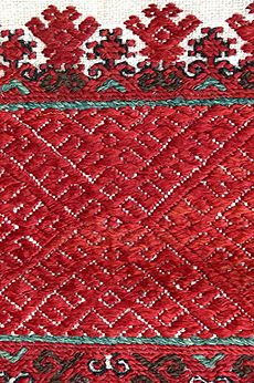 """""""virvittäin ompelu"""" - pattern darning? - this is decoration from a headpiece. Interestingly, in Finland, this style of decoration came BEFORE the weaving technique, """"red picking"""" (punapoiminta). It is said that in Germany the embroidery technique was developed to remind the Italian weaving technique."""