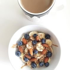 TGIS: Thank Goodness It's Saturday!  The blessing of a day to sleep in, catch up on your DVR (Married at First Sight anyone?!?), and make tasty oatmeal My all time favorite combination includes @coachsoats + cinnamon + banana + almond butter + blueberries + almonds + chia seeds