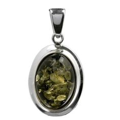 Green Amber Sterling Silver Simple Collection Medium Oval Pendant ** Check this awesome product by going to the link at the image.