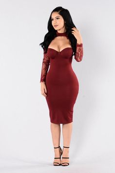 The Case of Lace Dress - Burgundy