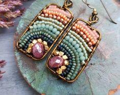 Pre-Order * Gemstone Xiola Earrings, Fuschia Moonstone, Peach, Teal, Glass Seed Beads, Brass, Boho Artisan Earrings