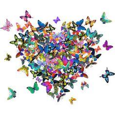 [フリーイラスト素材] イラスト, 背景, ハート, 蝶 / チョウ, 昆虫 / 虫, 動物 / 生き物, カラフル, EPS ID:201404131400