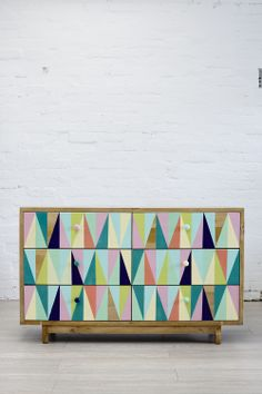 Hide n sleep interiors, double chest of drawers. On trend geometric pattern and pastel colour pallet. Not usually a fan of painted furniture, how good is the finish and how will it wear?