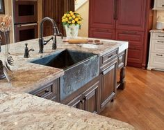 Typhoon bordeaux granite countertops are so elegant and if you wanted to have a showstopper kitchen this is the choice for you. It is understandable Types Of Kitchen Countertops, Light Granite Countertops, Dark Wood Kitchen Cabinets, Refinish Countertops, Dark Wood Kitchens, Cool Kitchens, Granite Kitchen, Kitchen And Bath Concepts, Diy Design