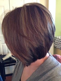Warm brown lowlights and inverted bob