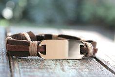 Men's Bracelet, Men's Leather Bracelet, Men's Engraved Bracelet, Men's Stainless Jewelry,. $35.00, via Etsy.