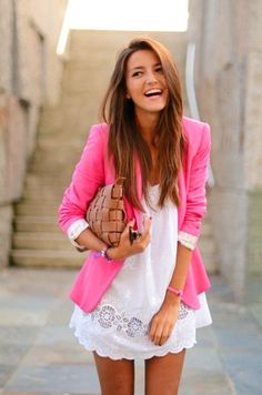 Pair a blazer with a dress for a young and fresh professional look.