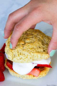 Vegan Strawberry Shortcake made with only 7 ingredients! The perfect strawberry shortcake comes together with strawberries, coconut cream + a flaky biscuit. #Vegan #OilFree #Healthy #Summer #Desserts