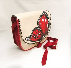 """Red Butterfly""  Handmade Leather Bag made from two types of leather with a painted butterfly.The painting is made with special colours resistent to water."