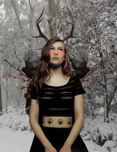 Joanna Newsom with antlers, photoillustration by (and via) carvedantlers.tumblr.com