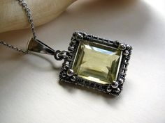 Lemon Quartz Necklace, Sterling Silver Wire Wrapped Square Pendant, Yellow Gemstone Handmade Jewelry