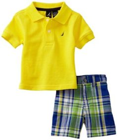 148db986c Nautica Sportswear Kids Baby-boys Infant Short Sleeve Solid Polo with Plaid  Short