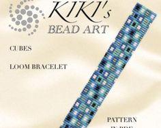 Bead loom pattern Red flower field LOOM bracelet by KikisBeadArts