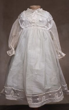 """Antique tulle lace dress for doll about 25-26"""""""