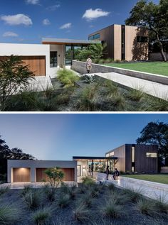 At the front of this home, a concrete path surrounded by landscaping leads you down to the front door. To the left are the garages and driveway, and to the right is the dining area and media room.