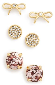 Currently crushing on this sparkly trio of Kate Spade stud earrings.