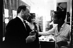 Not published in LIFE. Frank Sinatra backstage with Natalie Wood and Sammy Davis Jr. during Davis' celebrated run on Broadway in the musical, Golden Boy, New York, 1965.