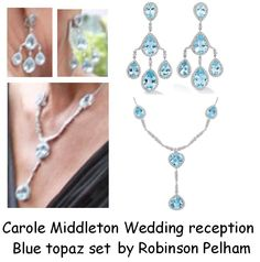 "Duchess of Cambridge's Earrings. Duchess of Cambridge wore a pair of girandole earrings. They look like they might be aquamarine or blue topaz. Robinson Pelham's website describes them as ""Pagoda earrings set with blue topaz and diamonds in white gold, £14,300"". Previously worn by Carole Middleton at her daughter's wedding reception."