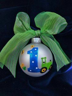 Birthday Tractor Ornament Hand Painted by BrushStrokeOrnaments, $18.00