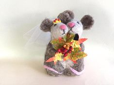 Fall wedding cake topper fall wedding decorations mouse mice