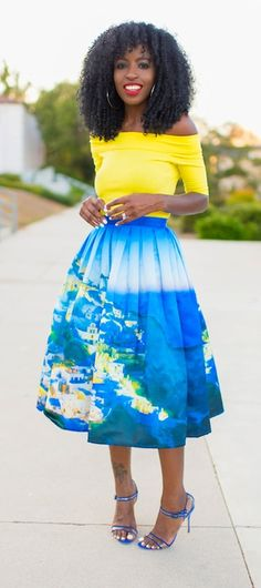 Chicwish Santorini Print Pleated Midi Skirt  Stylepantry