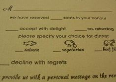"RSVP card. I am undecided about the ""we have reserved _ seats in your honor."" Anyone have thoughts?"