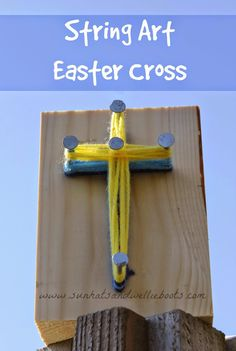 Sun Hats & Wellie Boots: Simple String Art - Weaving an Easter Cross sunday school lessons for toddler Simple String Art - Weaving an Easter Cross Bible School Crafts, Sunday School Crafts, Bible Crafts, Easter Crafts For Toddlers, Easter Activities, Sunday Activities, Art Activities, Outdoor Activities, Vbs Crafts