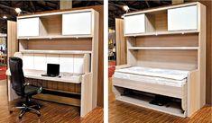 Com um simples movimento manual, móvel de escritório se transforma numa cama de solteiro. Preço é de R$ 6,4 mil |