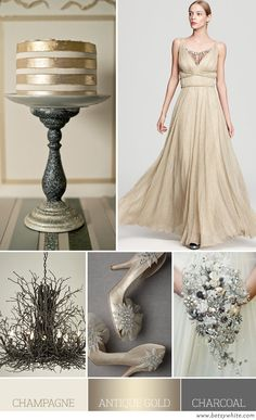 Wedding colour scheme option 1: Champagne, Antique Gold and Charcoal (To also add black)