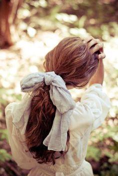 Low  Loose Ponytail w/bow/ribbon