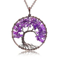 Uniki Tree of Life Pendant Amethyst Rose Crystal Necklace