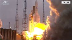 An Arianespace Ariane 5 rocket carrying the and satellites launched into space from the Guiana Space Center in Kourou, French Guiana on Feb. Orbital Period, Indian Space Research Organisation, Space Center, Karnataka, Burj Khalifa, Saudi Arabia, Cn Tower, Science And Technology