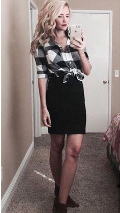 plaid & pencil skirt
