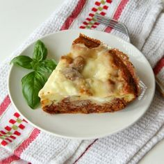 Impossible Lasagna Pie | ShockinglyDelicious.com: Classic flavor of lasagna in a savory pie for a satisfying #weekdaysupper. Serve with a fresh green salad and some crusty bread and dinner is complete!  #beefrecipe   #beefitswhatsfordinner   #recipeoftheday  #lasagna  #bisquick
