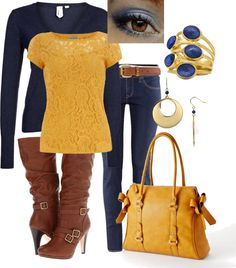 """Blue and Mustard Yellow"" by aznat73 on Polyvore"
