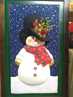 Muñecos nieve Christmas Snowman, Christmas Crafts, Xmas, Christmas Ornaments, Holiday Door Decorations, Christmas Sewing Projects, Christmas Embroidery, Quilted Wall Hangings, Winter Fun
