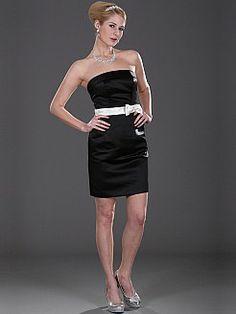 Sheath Strapless Mini Satin Bridesmaid Dress with Bow Sash'