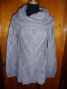 Victoria's Secret Moda International Cowl Neck Cable Knit Sweater Tunic Top S #ModaInternational #CowlNeck #Work