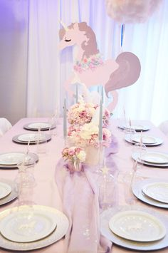 Unicorn guest table from an Elegant Pastel Unicorn Soiree on Kara's Party Ideas | KarasPartyIdeas.com (8)