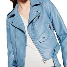 Motorcycle Blue Leather Jackets Women Fashion PU Leather Coats with Belt chaqueta Bomber Blazer outwear Jack Fall jaqueta couro Spring Jackets, Winter Jackets Women, Coats For Women, Streetwear, Faux Leather Jackets, Pu Leather, Leather Coats, Leather Collar, Long Sleeve Sweater